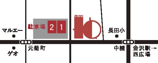 studio H.Q.(駐車場)へのマップ